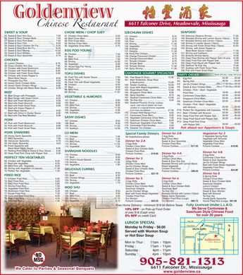 Chinese Restaurant Menu on Goldenview Chinese Restaurant  905 821 1313    Menu