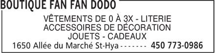 Boutique Fan Fan Dodo (450-773-0986) - Annonce illustrée======= - VÊTEMENTS DE 0 À 3X - LITERIE ACCESSOIRES DE DÉCORATION JOUETS - CADEAUX