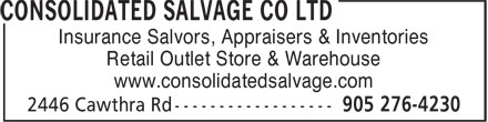 Consolidated Salvage Co Ltd (905-276-4230) - Annonce illustrée======= - Insurance Salvors, Appraisers & Inventories Retail Outlet Store & Warehouse www.consolidatedsalvage.com