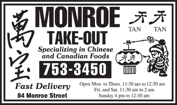 Monroe Take Out (709-753-3450) - Display Ad -