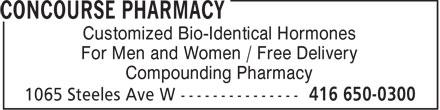 Concourse Pharmacy & Compounting Ctr (416-650-0300) - Annonce illustrée======= -
