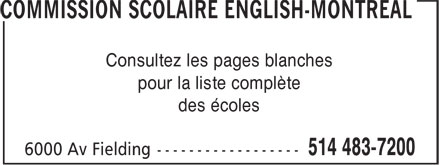 Commission Scolaire English-Montréal (514-483-7200) - Display Ad -