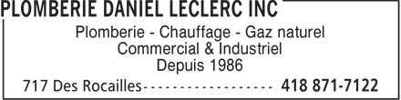 Plomberie Daniel Leclerc Inc (418-871-7122) - Display Ad -