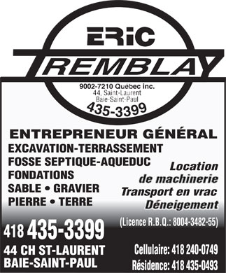 Tremblay Eric (9002-7210 Québec Inc) (418-435-3399) - Annonce illustrée======= - Location Transport en vrac