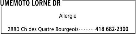 Umemoto Lorne Dr (418-682-2300) - Annonce illustrée======= - Allergie
