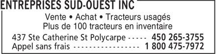 Entreprises Sud-Ouest Inc (450-265-3755) - Annonce illustrée======= - Vente • Achat • Tracteurs usagés Plus de 100 tracteurs en inventaire