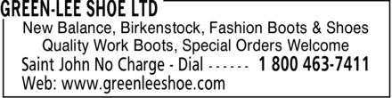 Green-Lee Shoe Ltd (1-800-463-7411) - Annonce illustrée======= - New Balance, Birkenstock, Fashion Boots & Shoes Quality Work Boots, Special Orders Welcome