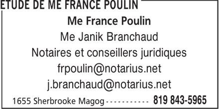 Etude de Me France Poulin (819-843-5965) - Annonce illustrée======= - Me Janik Branchaud Notaires et conseillers juridiques Me France Poulin