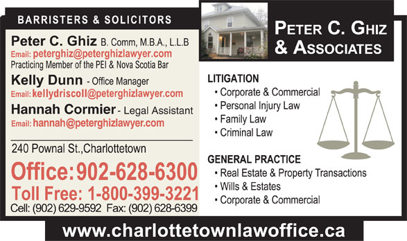 Ghiz Peter C (902-628-6300) - Display Ad - Hannah Cormier - Legal Assistant