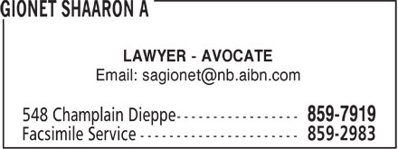 Shaaron A. Gionet (506-859-7919) - Display Ad - LAWYER - AVOCATE Email: sagionet@nb.aibn.com