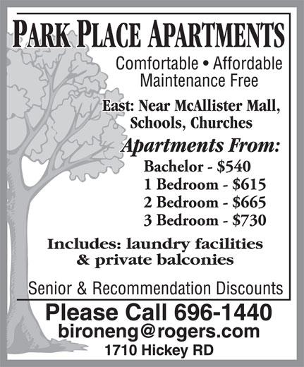Park Place Apartments (506-696-1440) - Annonce illustrée======= -