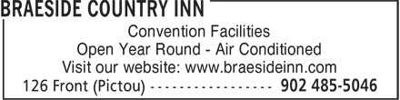 Braeside Inn Accommodations (902-485-5046) - Display Ad - Convention Facilities Open Year Round - Air Conditioned Visit our website: www.braesideinn.com