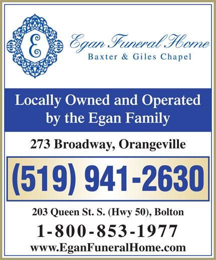 Egan Funeral Home Baxter & Giles Chapel (519-941-2630) - Annonce illustrée======= -