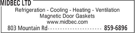 Midbec Ltd (506-859-6896) - Annonce illustrée======= - Refrigeration - Cooling - Heating - Ventilation Magnetic Door Gaskets www.midbec.com