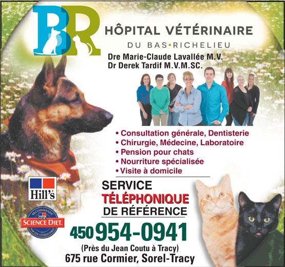 Hopital Vétérinaire Du Bas Richelieu (450-743-9991) - Display Ad - Dre Marie-Claude Lavallée M.V. Dr Derek Tardif M.V.M.SC.ek Tardif M.V.M.SC. Consultation générale, Dentisterie Chirurgie, Médecine, Laboratoire Pension pour chats Nourriture spécialisée Visite à domicile SERVICE TÉLÉPHONIQUE DE RÉFÉRENCE 954-0941 (Près du Jean Coutu à Tracy) 675 rue Cormier, Sorel-Tracy