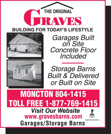 Graves Barns & Buildings Ltd (506-855-8550) - Display Ad - TOLL FREE 1-877-769-1415 MONCTON 804-1415