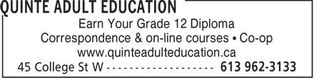 Ads Quinte Adult Education