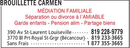 Carmen Brouillette Notaire (819-228-9779) - Annonce illustrée======= - MÉDIATION FAMILIALE Séparation ou divorce à l'AMIABLE Garde enfants - Pension alim - Partage biens