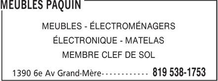 Meubles Paquin (819-538-1753) - Annonce illustrée======= - MEUBLES - ÉLECTROMÉNAGERS ÉLECTRONIQUE - MATELAS MEMBRE CLEF DE SOL