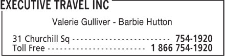 Executive Travel Inc (709-754-1920) - Display Ad - Valerie Gulliver - Barbie Hutton