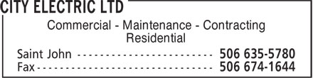 City Electric Ltd (506-635-5780) - Display Ad - Commercial - Maintenance - Contracting Residential
