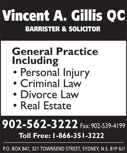 Gillis Vincent A (902-562-3222) - Annonce illustrée======= - 902-562-3222 Fax: 902-539-4199