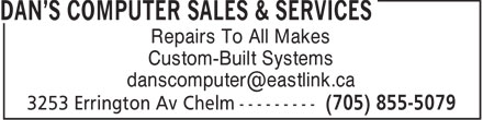 Dan's Computer Sales & Services (705-855-5079) - Display Ad -