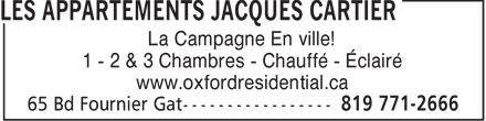 Les Appartements Jacques Cartier (819-771-2666) - Annonce illustrée======= - La Campagne En ville! 1 - 2 & 3 Chambres - Chauffé - Éclairé www.oxfordresidential.ca
