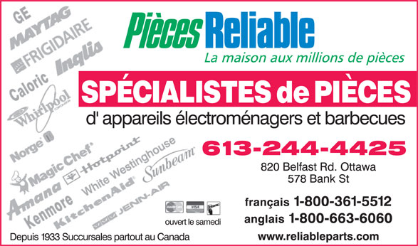 Pièces Reliable (613-244-4425) - Display Ad -