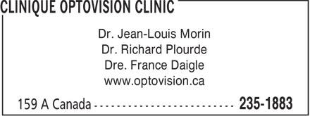 Clinique Optovision Clinic (506-235-1883) - Annonce illustrée======= -