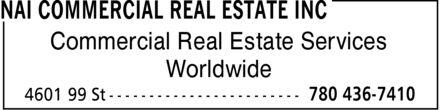 NAI Commercial Real Estate Inc (780-436-7410) - Display Ad - Commercial Real Estate Services Worldwide Commercial Real Estate Services Worldwide