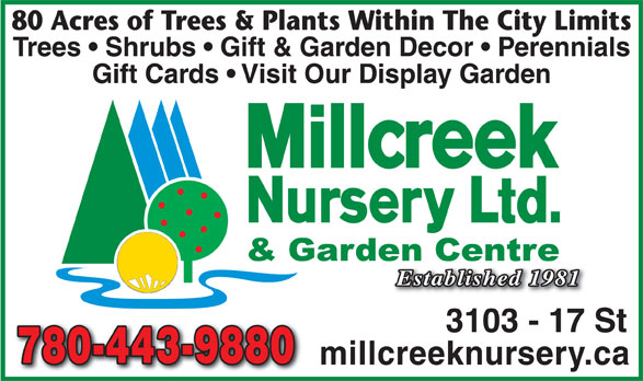 Millcreek Nursery Ltd (780-469-8733) - Annonce illustrée======= - 80 Acres of Trees & Plants Within The City Limits Trees   Shrubs   Gift & Garden Decor   Perennials Gift Cards   Visit Our Display Garden Established 1981 3103 - 17 St 780-443-9880780-443-9880 millcreeknursery.ca 80 Acres of Trees & Plants Within The City Limits Trees   Shrubs   Gift & Garden Decor   Perennials Gift Cards   Visit Our Display Garden Established 1981 3103 - 17 St 780-443-9880780-443-9880 millcreeknursery.ca