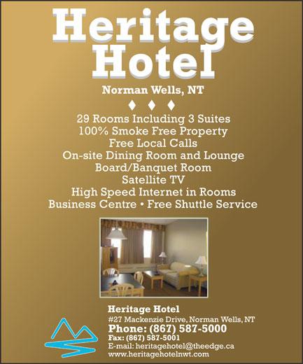Heritage Hotel (867-587-5000) - Display Ad -