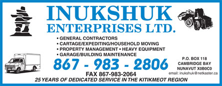Inukshuk Enterprises Ltd (867-983-2806) - Annonce illustrée======= -