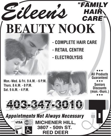 Eileen's Beauty Nook (403-347-3010) - Annonce illustrée======= -