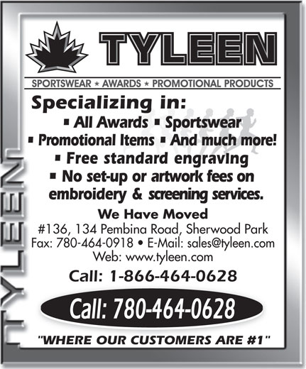Tyleen Sportswear Awards & Promotional Products (780-464-0628) - Annonce illustrée======= -