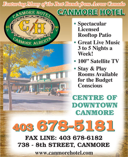 Canmore Hotel (403-678-5181) - Display Ad -