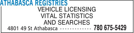 Athabasca Registries (780-675-5429) - Display Ad - VEHICLE LICENSING VITAL STATISTICS AND SEARCHES