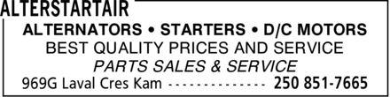 Alterstartair (250-851-7665) - Annonce illustrée======= - ALTERNATORS  STARTERS  D/C MOTORS BEST QUALITY PRICES AND SERVICE PARTS SALES & SERVICE