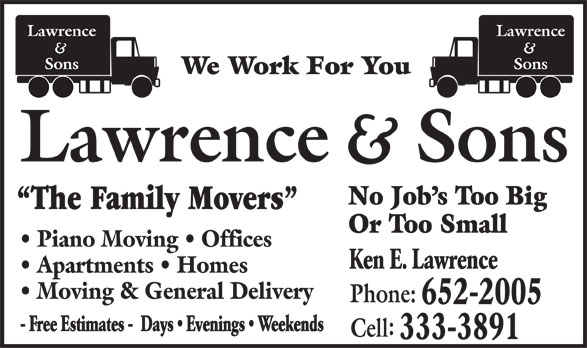 Lawrence and Sons (506-652-2005) - Display Ad -