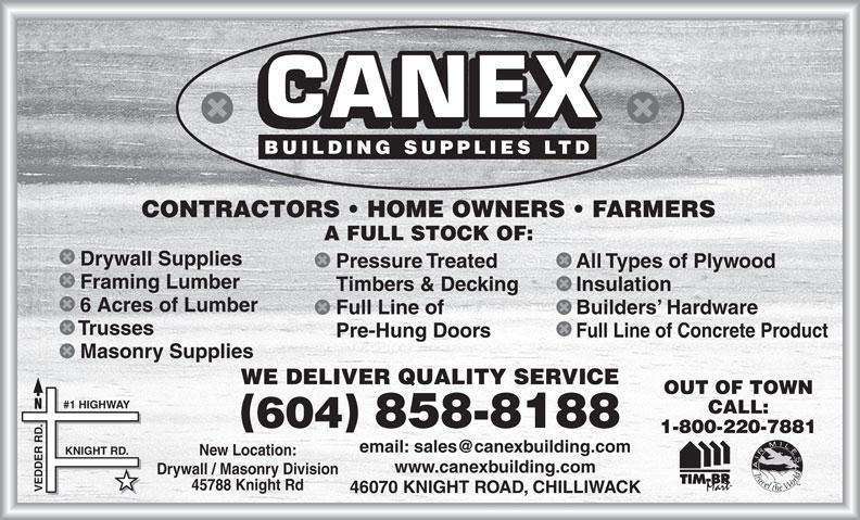 Canex Building Supplies Ltd (604-858-8188) - Annonce illustrée======= -