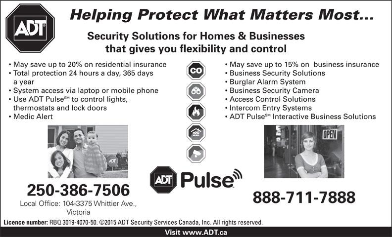 ADT Security Services Canada Inc (250-386-7506) - Annonce illustrée======= -
