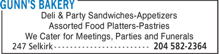 Gunn's Bakery (204-582-2364) - Display Ad - Deli & Party Sandwiches-Appetizers Assorted Food Platters-Pastries We Cater for Meetings, Parties and Funerals Deli & Party Sandwiches-Appetizers Assorted Food Platters-Pastries We Cater for Meetings, Parties and Funerals