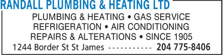 Randall Plumbing & Heating Ltd (204-775-8406) - Annonce illustrée======= - PLUMBING & HEATING • GAS SERVICE REFRIGERATION • AIR CONDITIONING REPAIRS & ALTERATIONS • SINCE 1905