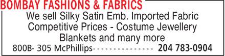 Bombay Fashions & Fabrics (204-783-0904) - Display Ad -