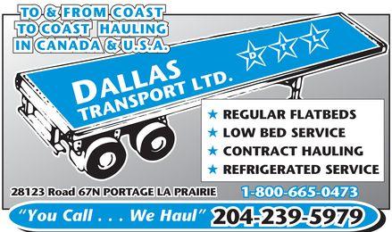 Dallas Transport Ltd (204-239-5979) - Display Ad -