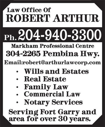 Arthur Robert Law Office (204-940-3300) - Display Ad - 204-940-3300