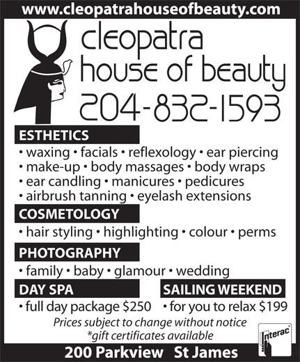 Cleopatra House Of Beauty (204-832-1593) - Display Ad -