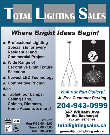 Total Lighting Sales (204-943-0999) - Display Ad -