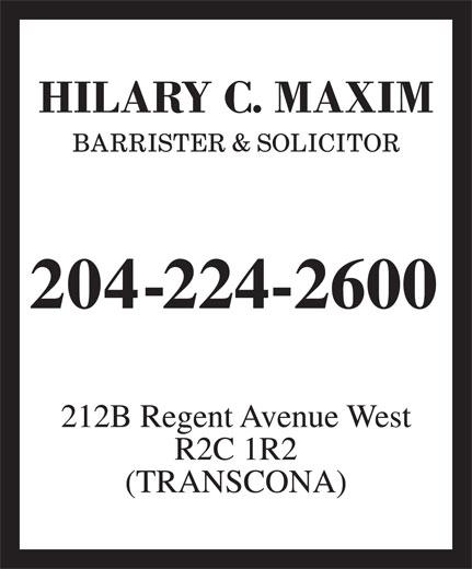 Maxim Hilary C (204-224-2600) - Display Ad -